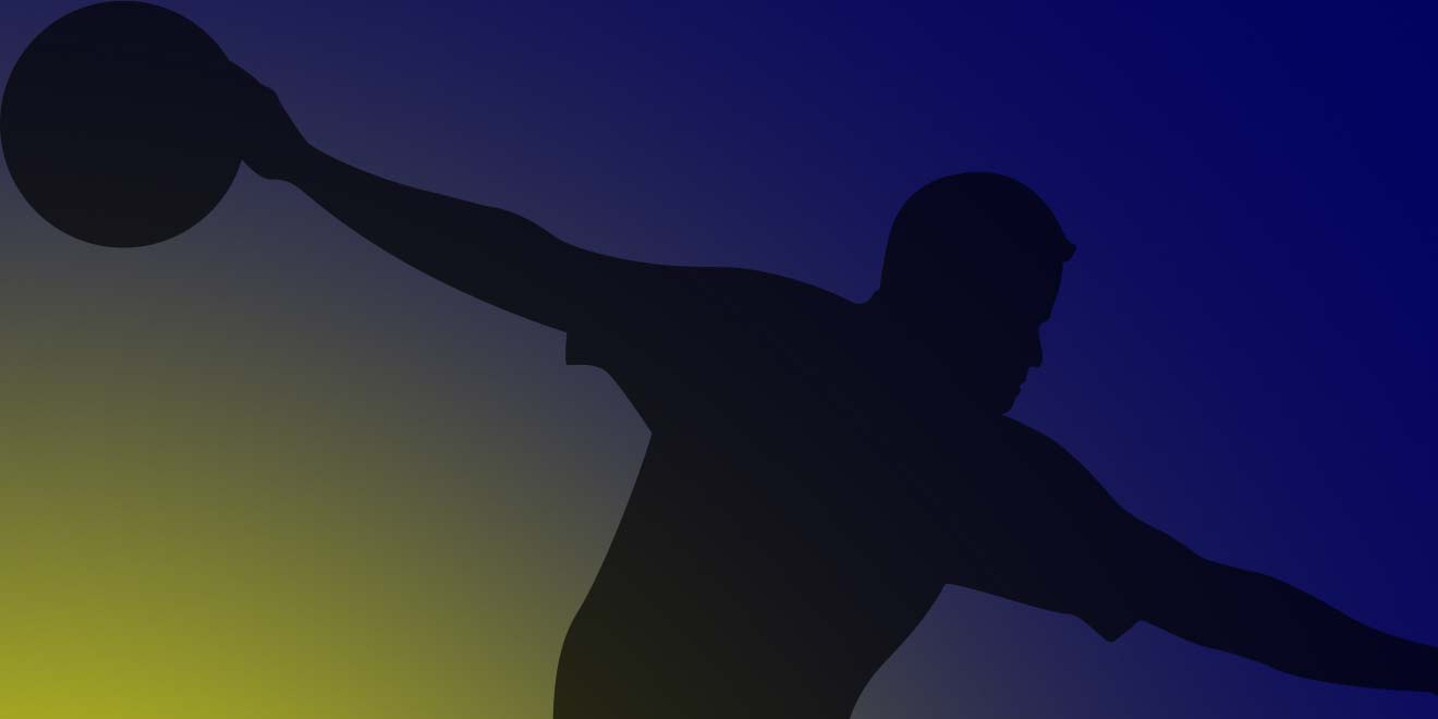 bowler silhouette with a blue and yellow background