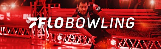 FloBowling logo in centered in front of a professional bowler taking his shot