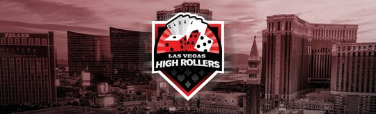 The High Rollers team logo centered in front of the Las Vegas skyline