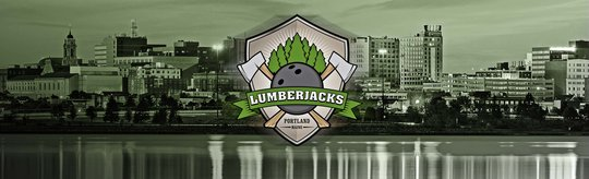 The Lumberjacks team logo centered in front of the Portland, Maine skyline
