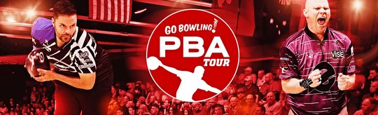 Jason Belmonte, PBA Tour logo, and Tommy Powers in from of lanes and an audience.