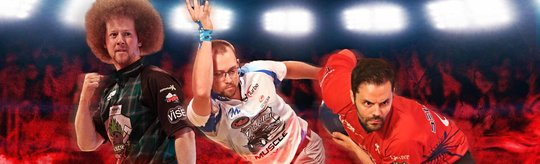 Kyle Troup, EJ Tackett and Jason Belmonte bowling in PBA league jerseys