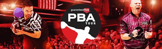 two players in action shots with the pba tour logo and guaranteed rate logo